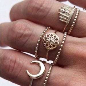 Jewelry - 5 midi ring set Includes 2 bands &  3 main rings